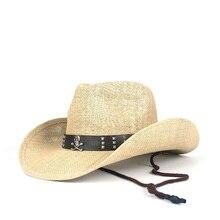 2019 Summer Straw Western Cowboy Hat Women Men Hollow Cowboy Hut Sombrero Hombre Beach Cowgirl Jazz Sun Hat Size 56-58CM