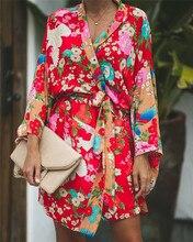 2020 automne été femmes à manches longues bohème Floral décontracté ample longue Blouse Kimono longue Cardigan Flare manches imprimer mince chemise
