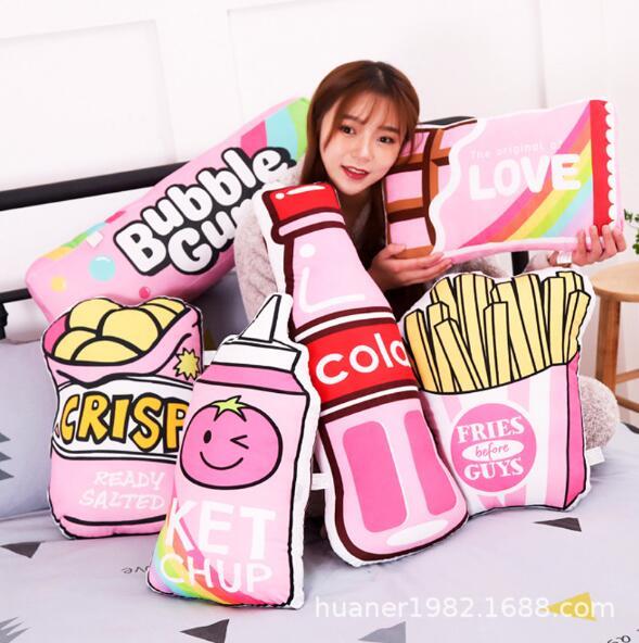 Almohada de dibujo de comida rosa de peluche, almohada para dormir, botella de cola de leche frita, regalo de cumpleaños para niña