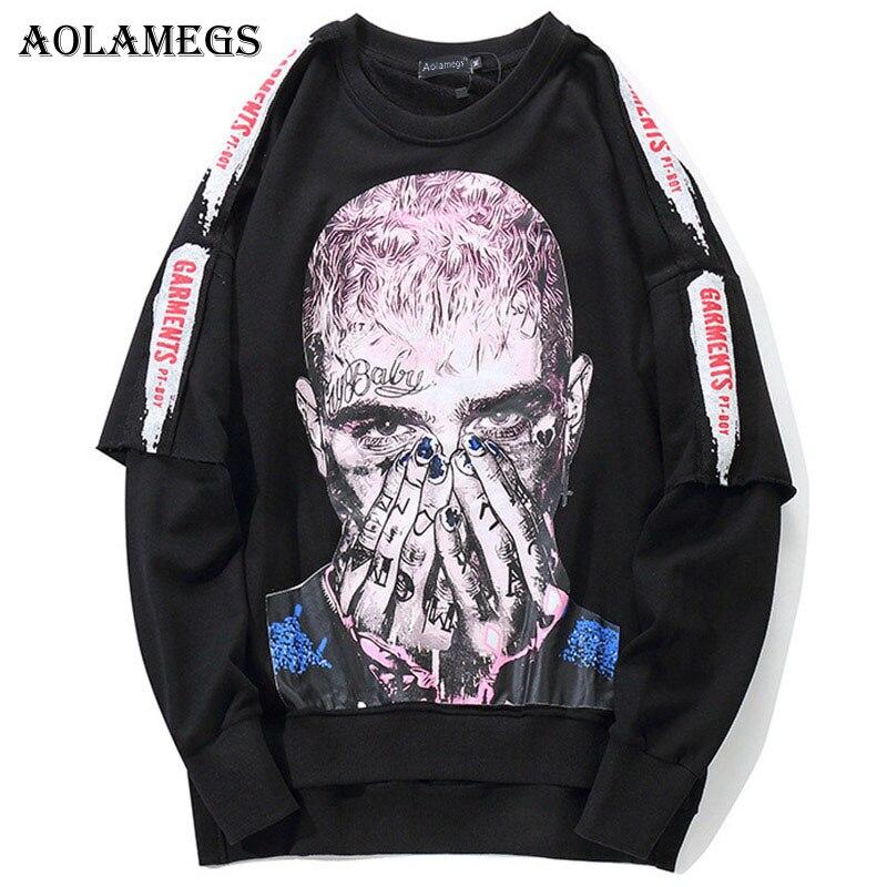 Aolamegs sudadera para hombre Cool Printed Sweatshirts Pullover Streetwear calle alta Hip hop moda Otoño Streetwear ropa