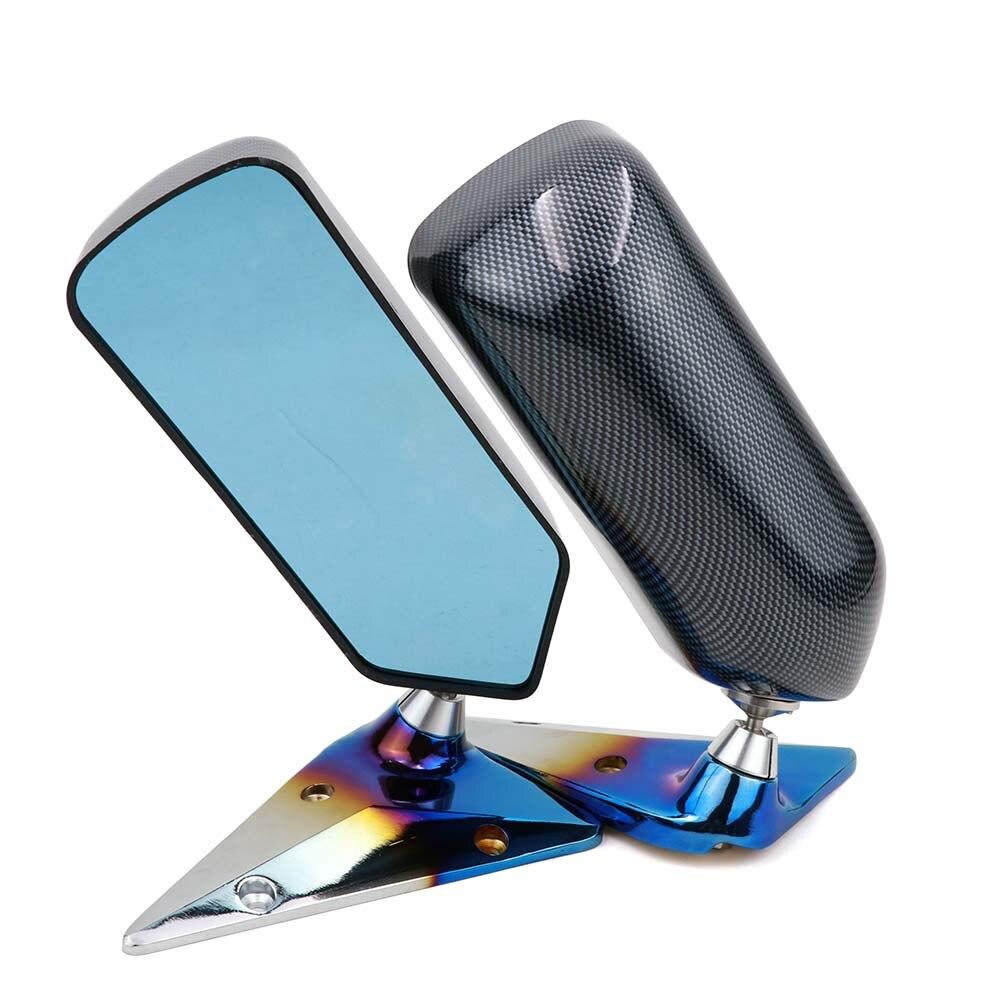 Espejo retrovisor lateral Universal para coche de carreras, estilo F1, con apariencia de fibra de carbono, espejo guardabarros azul