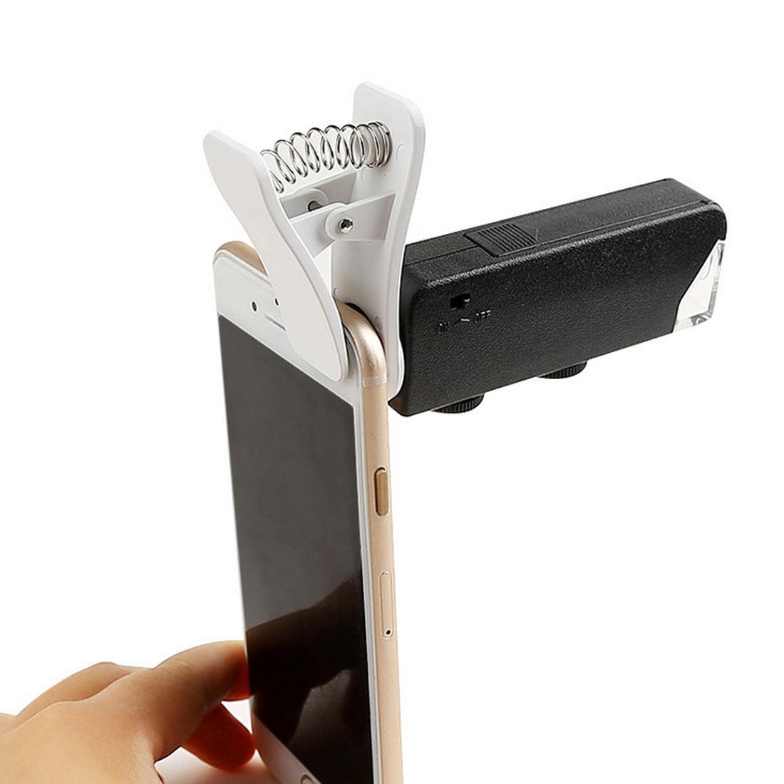 Lente de microscopio LED con Zoom de 60X a 100X, lupa Micro para teléfono móvil con Clip Universal para iPhone Samsung HTC Huawei