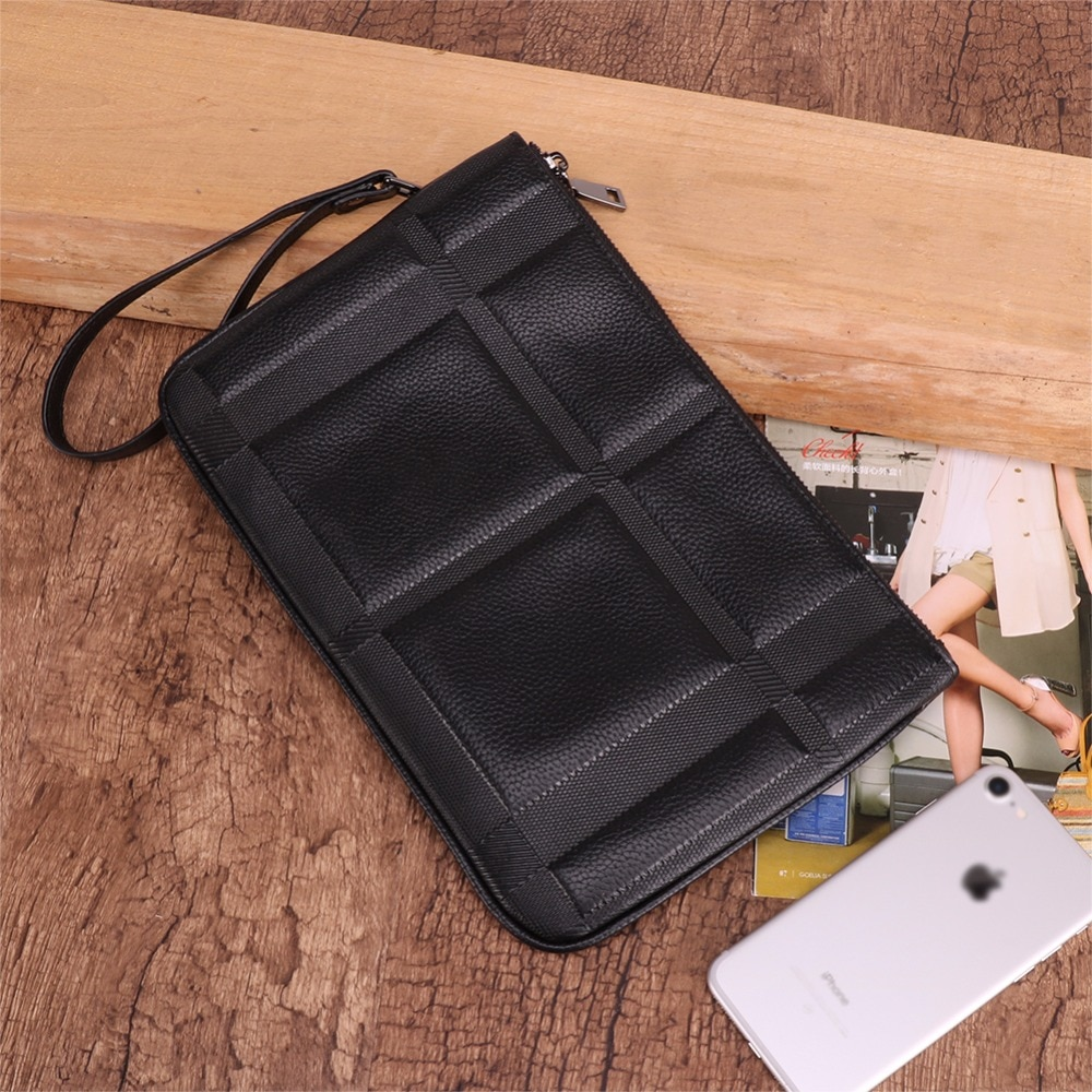 Mens Clutch Bag Genuine Leather Luxury Bag Clutche Male Men Wallets A4 Ipad Case Handbags Large Capacity
