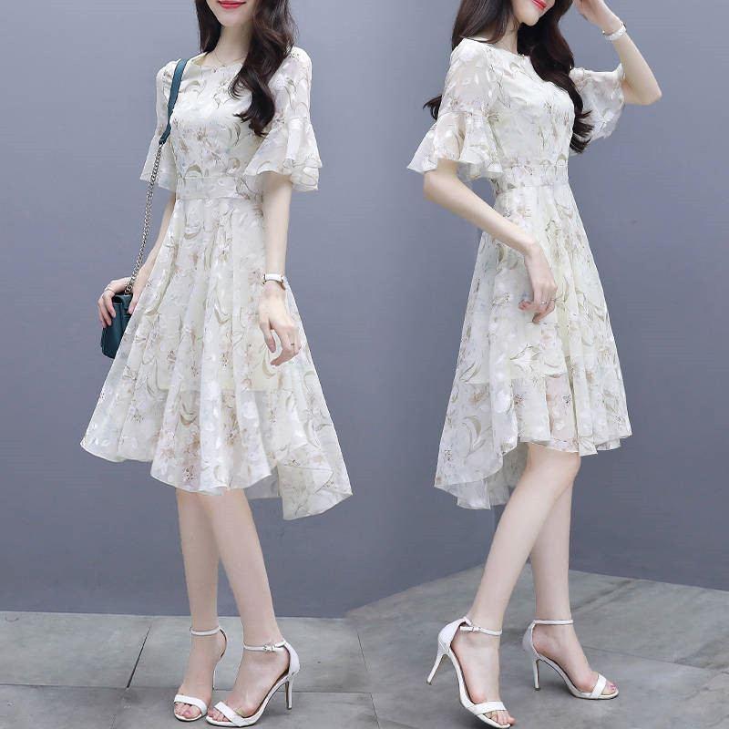 2019 mujeres verano vestido de gasa con estampado floral señora elegante Flare manga Irregular dobladillo medio Vestidos señora fiesta Casual Vestidos Z15