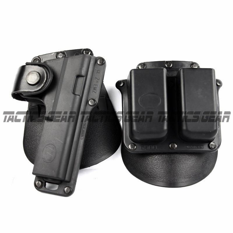 Pistola táctica Paddle pistolera se adapta Glock G17 G22 G23 w/Retención de correa de cuero con doble revista 6900