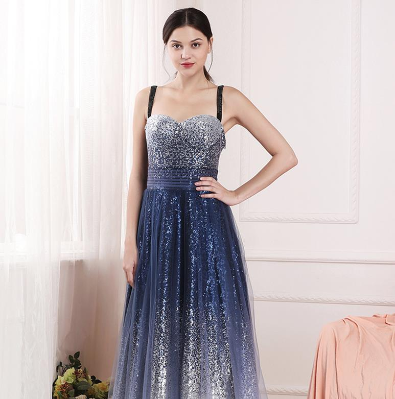 sexy blue gradient socialite birthday party annual toast stars evening dress