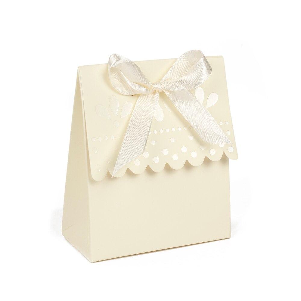 Cor marfim Scalloped Edge-Caixa De Papel Do Presente Do Partido Favor Do Casamento Caixas de Bombons  lote Frete grátis