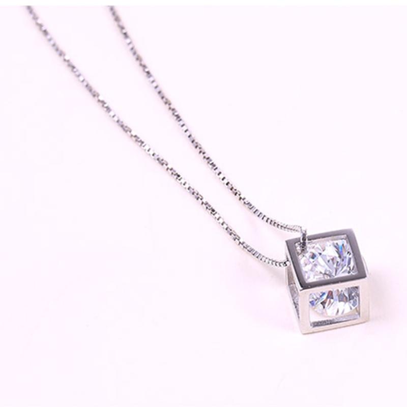 Xiyanike 2017 925 colar de prata para as mulheres pingente colar cubo de cristal colar roupas verão jóias acessório vns8297