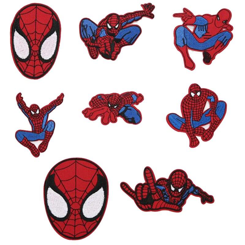 Tela de Dibujos Animados hecha de accesorios de ropa, parche de ropa de superhéroe Spiderman parche de ropa bordado insignia ropa tejido de costura