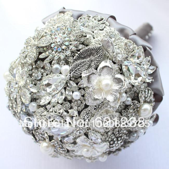 East handmade jewelry, brooch bouquet wedding bride holding flowers silvery gray holding wedding flowers