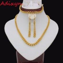 Adixyn éthiopien collier/boucles doreilles/Bracelet pour femmes couleur or/cuivre parure de bijoux africain/dubaï/mexique/Nigeria cadeaux