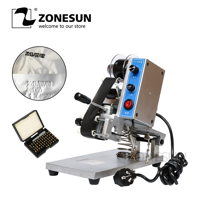ZONESUN ZY-RM5 Coding Machine Color Ribbon Hot Printing Machine Heat Ribbon Printer Film Bag Date Printer 220V/50Hz