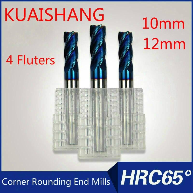 Fresas de esquina de carburo sólido KUAISHANG de 4 flautas de 10mm,12mm, fresas de fresado CNC HRC65, brocas de enrutador de acero de tungsteno