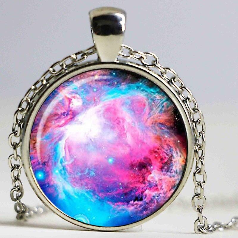 Collier galaxie nébuleuse jjoaillerie pendentif nébuleuse Orion pendentif nébuleuse pour hommes, pendentif dart collier cabochon en verre, galaxie nébuleuse