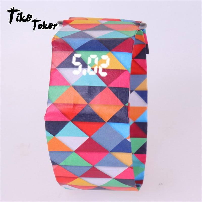 TIke Toker,5pcs/Lot Tyvek Paper Women Men Paper Watch LED Waterproof Clock Strap Sport  Digital Watches Germany Wholesale Price8