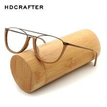 HDCRAFTER monture de lunettes Vintage pour hommes/femmes   Monture de lunettes en bois, métal lecture myopie, cadre de lunettes avec lentille transparente, en bois,