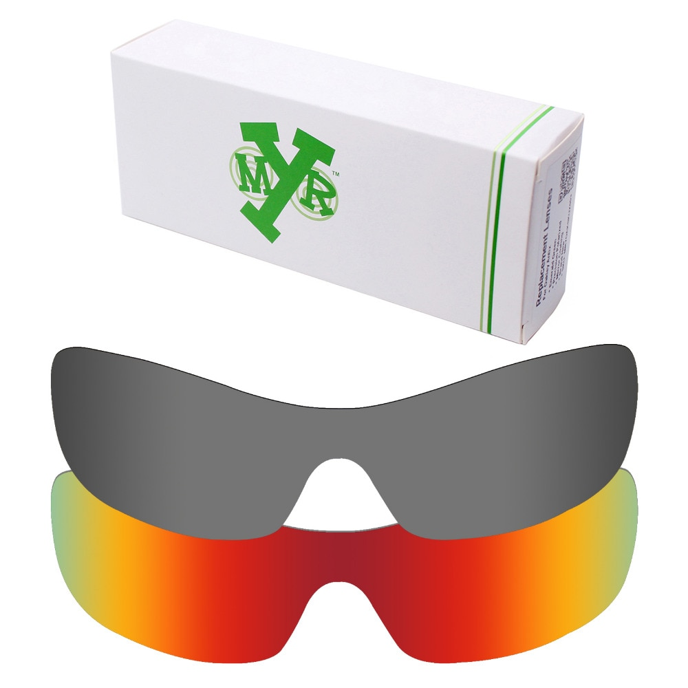 Lentes de 2 piezas de repuesto polarizadas antiarañazos Mryok para gafas de sol Oakley Antix fuego rojo y negro IR