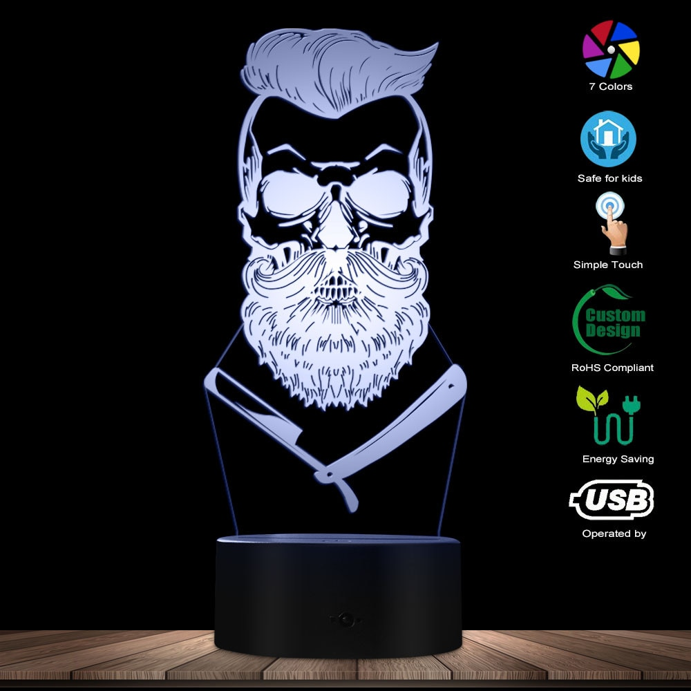 Calavera de barbero ilusión óptica 3D luz Hipster esqueleto barbería afeitado LED luz de noche bigote cráneo Mesa Visual lámpara señal