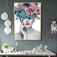 Peinture sur toile de Portrait de femme et fleur  a la mode