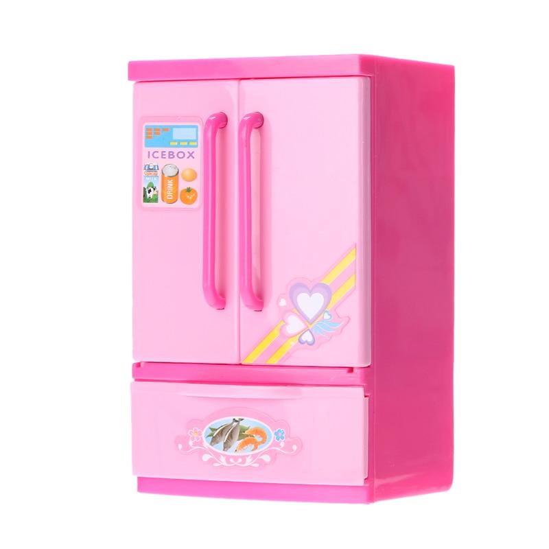 Nevera Rosa simulada, diversión para niños, juego de rol, nevera, Mini juego de interior, nevera de juguete para niños y niñas