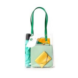 Luxury Transparent Handbag Women Waterproof Plastic Transparent Beach Bag PVC Jelly Bag Contrast Color Bag Handbag Shoulder Bags