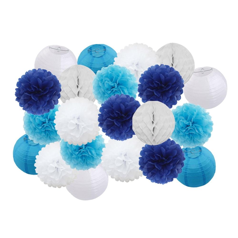 "21 unids/set mixto 8 ""10"" azul conjunto de papel redondo linterna para niño niña bautismo boda fiesta de Halloween decoración papel colgante artesanías"