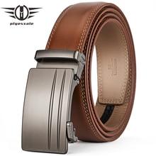 Plyesxale-ceinture à boucle automatique   ceinture en cuir véritable de vachette pour hommes, ceinture élégante et formelle, marque de luxe G69