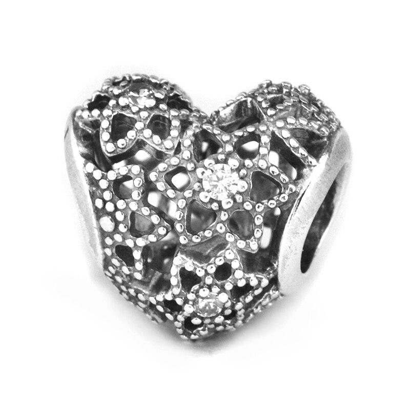 Colgante de corazón de plata de ley 925 auténtico que se adapta a las cuentas originales de la pulsera Pandora para las mujeres DIY que hacen la joyería de moda