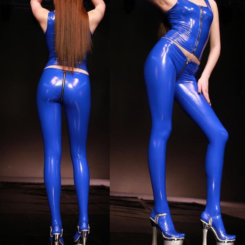 S-3XL de talla grande de PVC brillante con cremallera en la entrepierna para mujer, mallas sexys de Cuero abierto en el trasero, aspecto húmedo, Pantalones elásticos