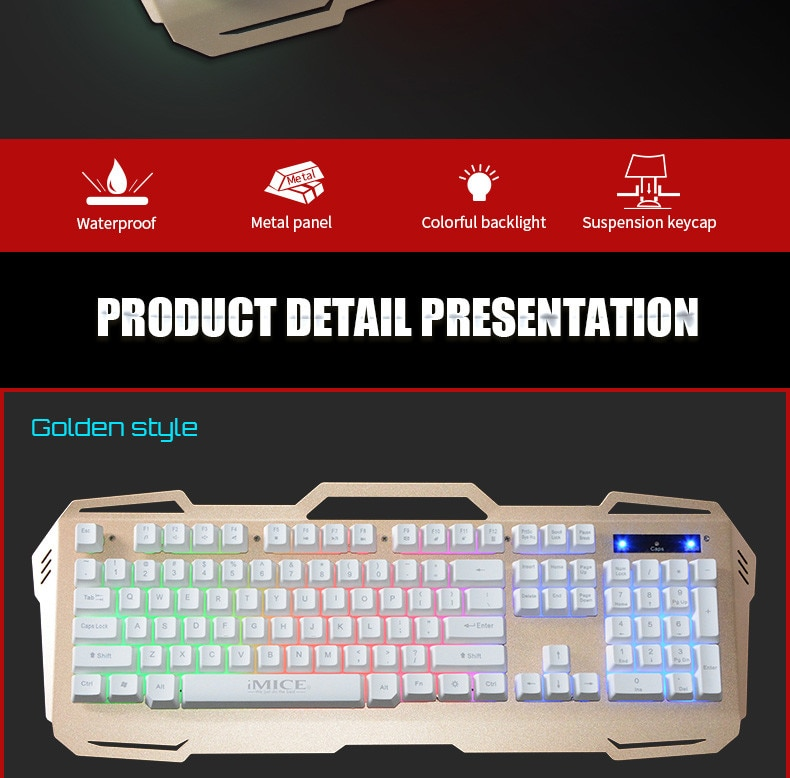 Juegos por cable Teclado retroiluminado de 104 teclas teclado de sensación mecánica teclado ergonómico de Metal RBG juego de teclas para ordenador PC