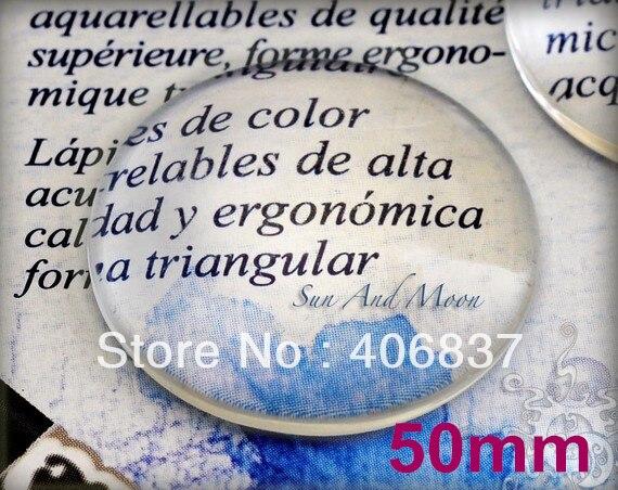 10 unids/lote, buena calidad 50mm cúpula redonda transparente Cristal de aumento cabujón