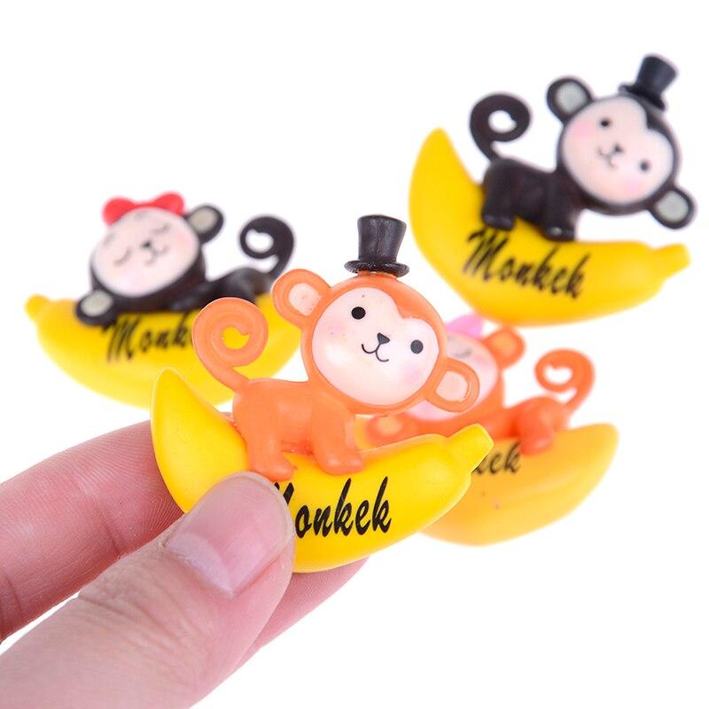 1 ensemble banane singe Figurine dessin animé Animal Statue gâteau décoration mousse ornement figurines miniatures résine artisanat décor cadeau jouet