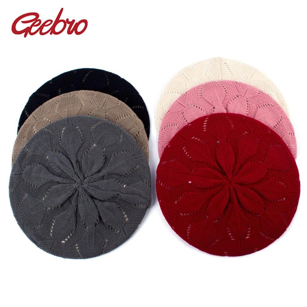 Geebro, Boina tejida de Color liso para mujer, boina acrílica suave informal de primavera para mujer, gorro estilo boina para artistas franceses