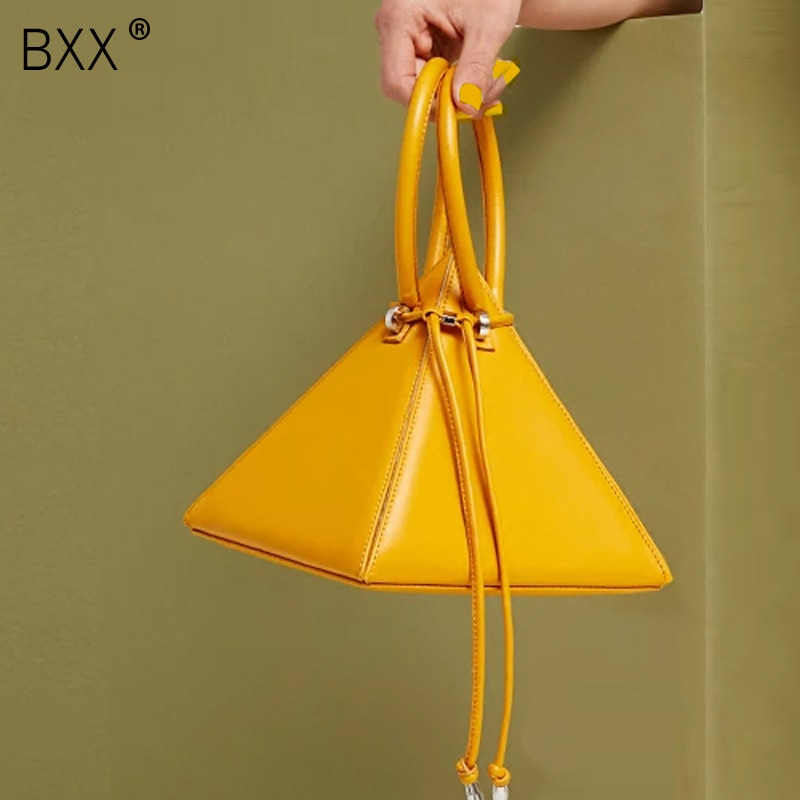 [BXX] 2021 Spring New Arrival Female Bag Solid Color Double Strap Handbag Women's All-match PU Leather Drawstring Bag LI625