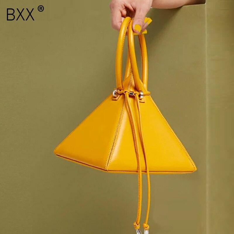 [BXX] 2021 Spring New Arrival Female Bag Solid Color Double Strap Handbag Women's All-match PU Leather Drawstring Bag LI625
