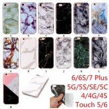 Mode Marbre coques de téléphone Pour iphone 4 4 S 5 5C SE 6 6 S 7 8 Plus Étui Pour ipod Touch 5/6 Coque En Silicone Souple Couverture Arrière i5 Funda