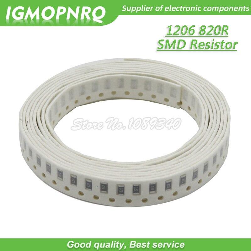 100PCS 1206 SMD Resistor 1% resistência 820 ohm chip resistor 0.25W 1/4W 820R 821 IGMOPNRQ