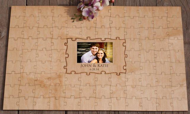 Rompecabezas hecho a medida, rompecabezas de madera para boda, libro de invitados de madera para boda, rompecabezas alternativo de personalización de foto
