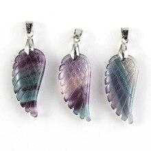 Xinshangmie Verzilverd Natuurlijke Fluoriet engelenvleugels Hanger Voor Vrouwen Charm Mode-sieraden