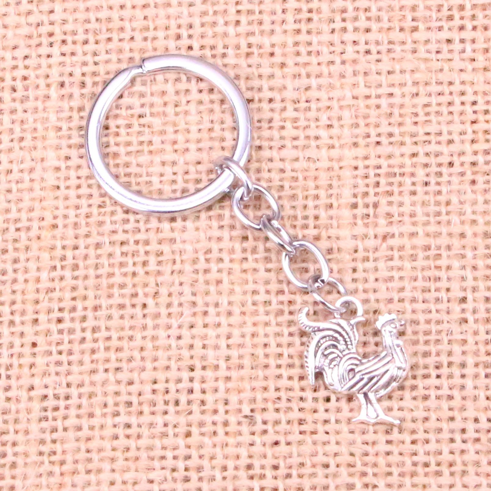 ¡Novedad! llavero de colgante elegante de pollo y gallo llavero Cadena de accesorios fabricación de joyas para regalos