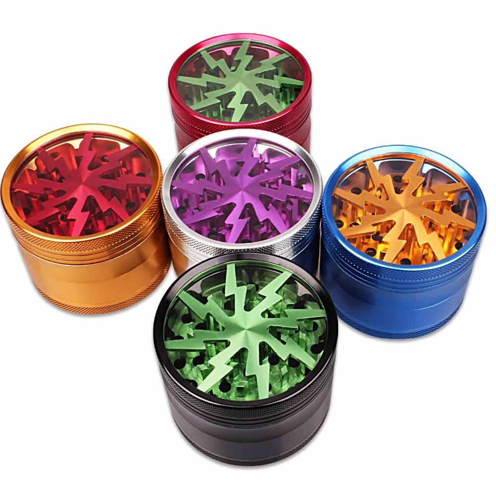 Mais recente em forma de relâmpago 4 camadas de fumo erva moedores cigarro relâmpago moedor fumar hierba