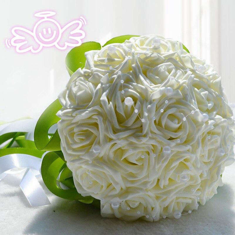 Bonito ramo para novia o dama de honor, ramo de flores para boda, ramo de rosas artificiales, ramos de novia blancos