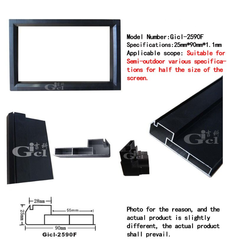 2 סט P10 מקורה הוביל תצוגת מודול מסגרת, LED מסך גודל 96 cm * 32 cm, gicl-2590F P5/P6/P7.62/P10 LED מציג אלומיניום סגסוגת מסגרת