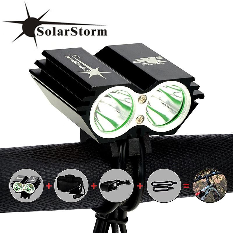 Solarstorm x2 5000lm à prova dwaterproof água led bicicleta frente luz led farol lâmpada lanterna com bateria recarregável + carregador