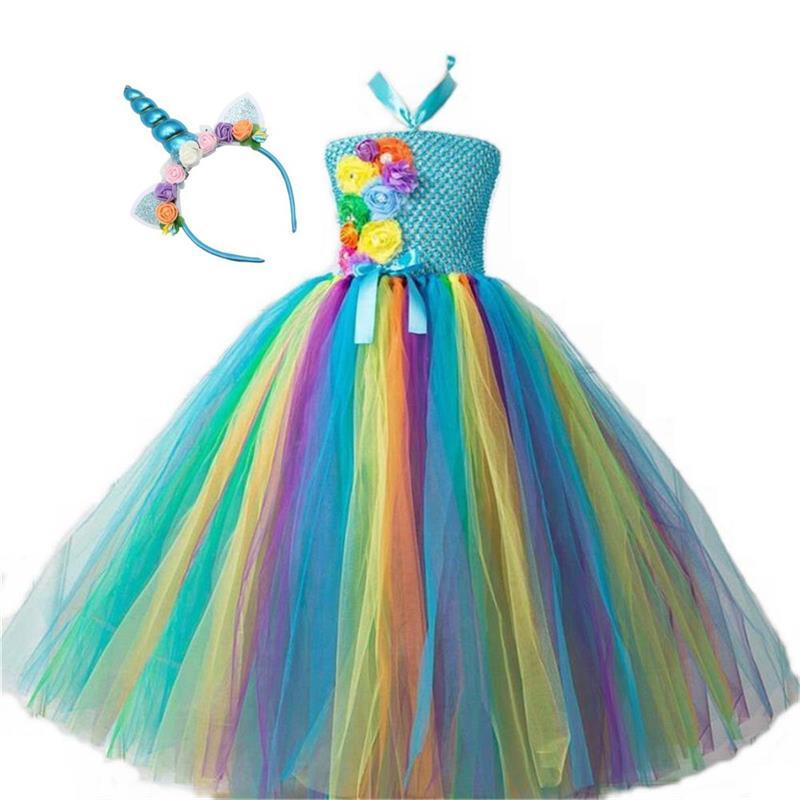 Girls Christmas Eve Xmas Dress up Party Dresses Unicorn Costume With Beadband New Year Tutu Mesh Dresses up Hair hooop 2018 blue