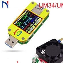 UM34 UM34C for APP USB 3.0 Type-C DC Voltmeter ammeter voltage current meter battery charge measure cable resistance Tester New