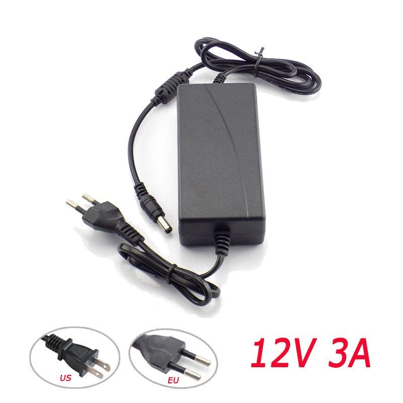 12 V 3A fuente de adaptador de corriente US o EU enchufe AC a DC 100 V-240 V convertidor cargador 2,1 ma 2,5 MMX-mm para cámara CCTV de tira LED