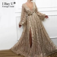 luxury sexy evening dresses 2020 long sleeve beading sequined evening gowns gold v neck dubai design