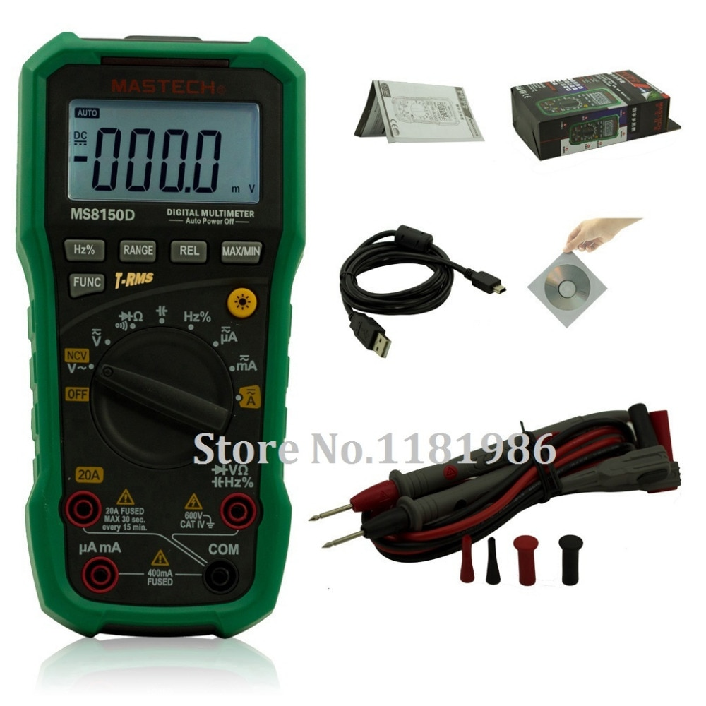 Multímetro Digital Mastech MS8150D, rango automático Ture RMS, medidor portátil de mano, instrumento eléctrico, herramienta de diagnóstico