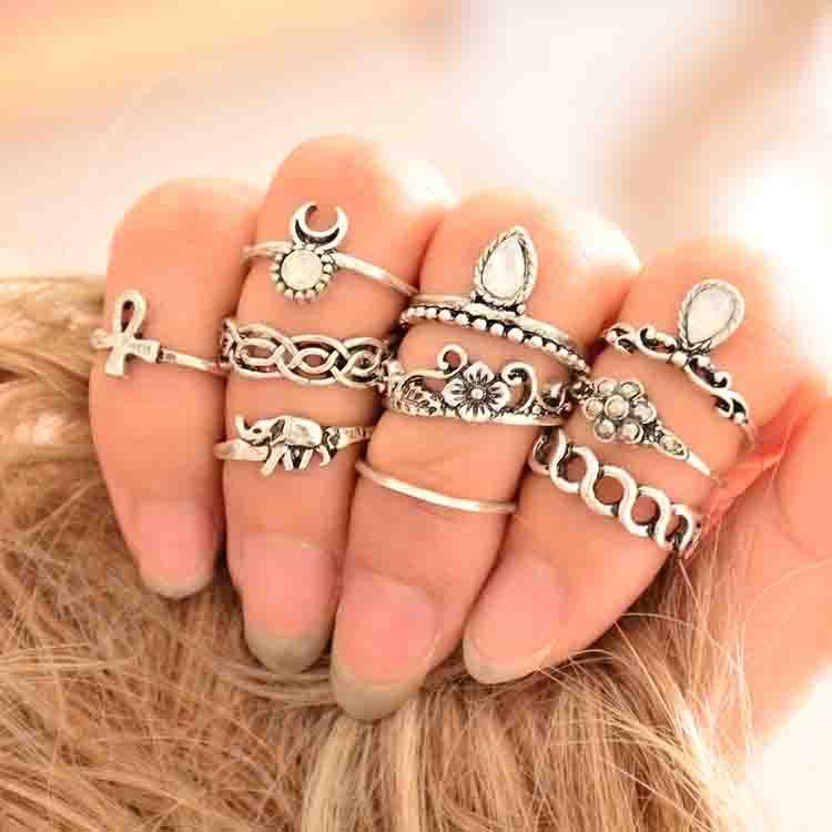 2020 nueva personalidad de moda Original playa de arena diez juego de papel anillo Posimi segundo estilo Junta anillo traje joyería regalo